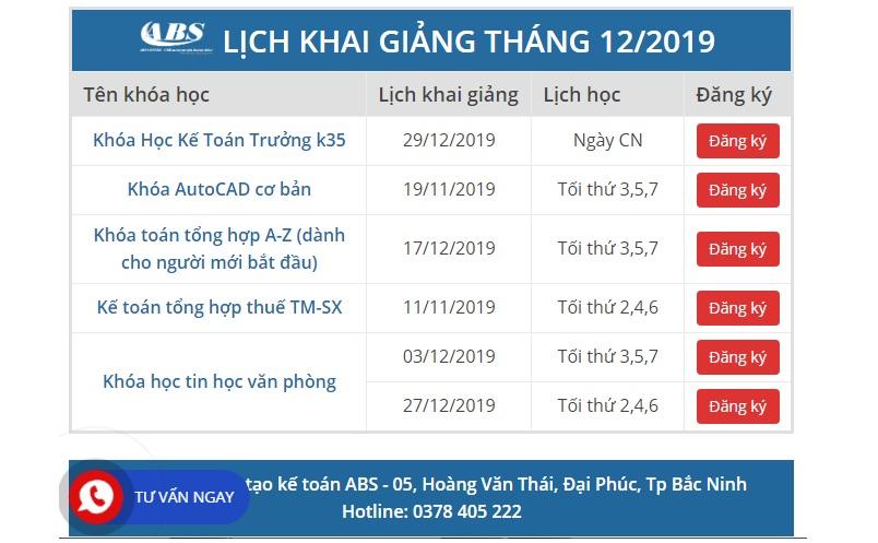 Lịch khai giảng tại trung tâm kế toán Bắc Ninh